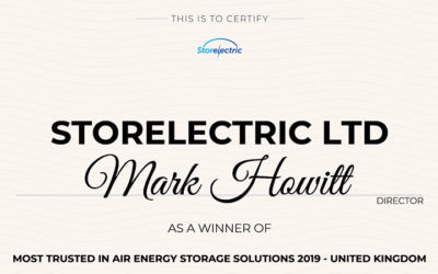 Most Trusted in Air Energy Storage Solutions 2019 – United Kingdom.